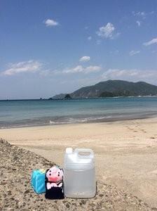 きれいな高浜の海水をクララさんのために採取するピーチ君