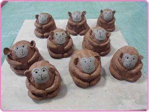 陶芸11月サル置物